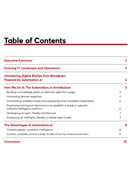 BizOps Automation.ai White Paper Table of Contents